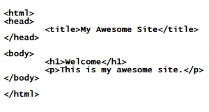 Some simple HTML syntax and code.
