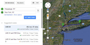 Driving time from central Long Island to downtown NYC.