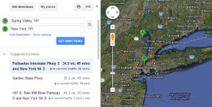 Driving time from central Rockland to downtown NYC. -48min with no traffic