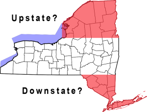 Upstate and Downstate NY to an out-of-stater (and central New Yorkers).