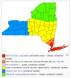 Regions of New York in common vernacular.